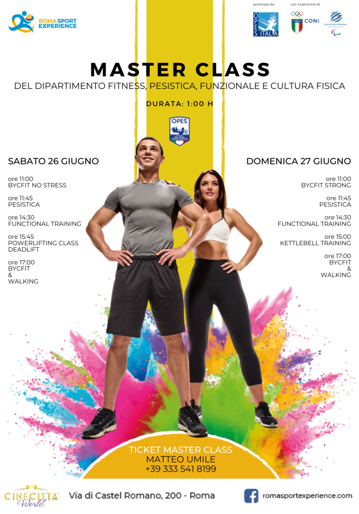 OPES Roma Sport Experience Corsi Master class fitness